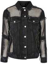 Topshop MOTO Fishnet Detail Oversized Denim Jacket