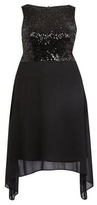 Dorothy Perkins Womens **Billie & Blossom Curve Black Sequin Fit And Flare Midi Dress, Black