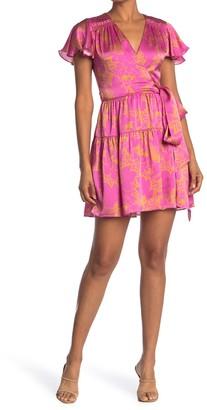 Tanya Taylor Paris Floral Satin Wrap Dress