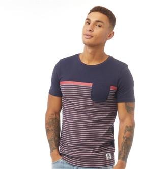 Fluid Mens Striped T-Shirt Navy