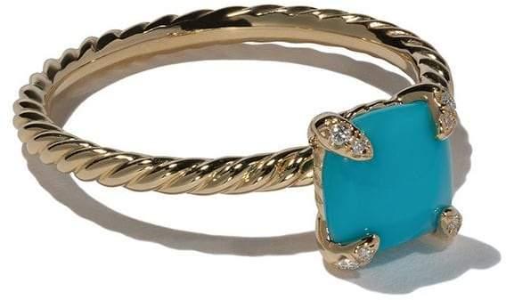 David Yurman 18kt yellow gold Châtelaine turquoise and diamond ring