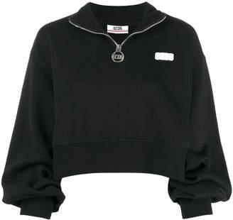 GCDS logo patch cropped sweatshirt