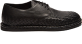 Bottega Veneta Intrecciato-trimmed leather derby shoes