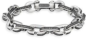 David Yurman Streamline Chain Link Bracelet in Sterling Silver with Black Diamonds