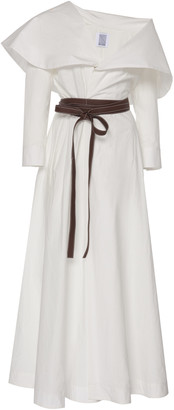 Rosie Assoulin October Belted Cape-Effect Cotton-Poplin Maxi Dress