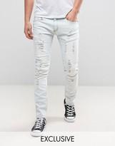 Liquor & Poker Slim Distressed Jeans in Bleach Stonewash Blue