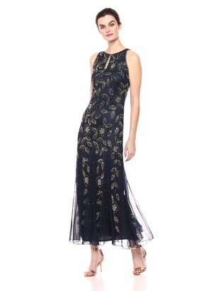 Pisarro Nights Women's Long Beaded Dress with Keyhole Front and Godet Style Skirt