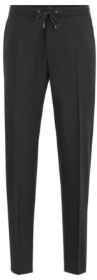HUGO BOSS Slim Fit Pants In Traceable Wool With Drawstring Waist - Black
