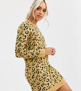 Brave Soul Petite nala neon animal print sweater dress