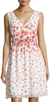 Max Studio Sleeveless A-Line Floral Print Dress, Ivory/Bright Coral