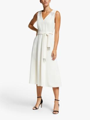 Marella Pablo Embellished Flare Dress, Wool White