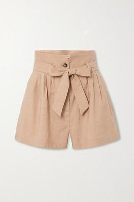 Frame Belted Pleated Linen-blend Shorts - Beige