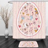 Vipsung Shower Curtain And Ground MatEaster Holiday Gifts Pink Fuchsia Mustard Blue BrownShower Curtain Set with Bath Mats Rugs