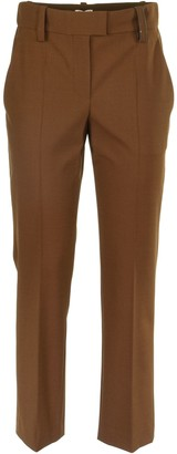 Brunello Cucinelli Techno Virgin Wool High-waist Cigarette Trousers With Shiny Loop