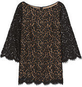 Michael Kors Corded Cotton-blend Lace Top - Black