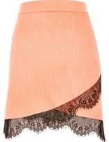 River Island Womens Pink faux suede lace hem mini skirt
