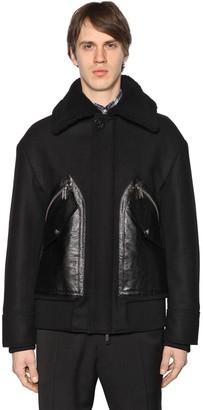 DSQUARED2 Wool Felt Jacket W/ Leather Pockets