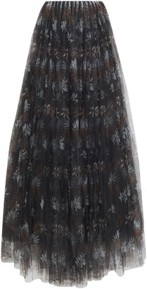 Brunello Cucinelli Layered Printed Tulle Maxi Skirt