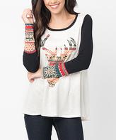 Black Reindeer Contrast-Sleeve Tunic