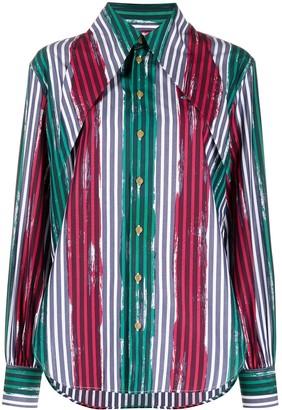 Vivienne Westwood Oversize Collar Pinstriped Shirt