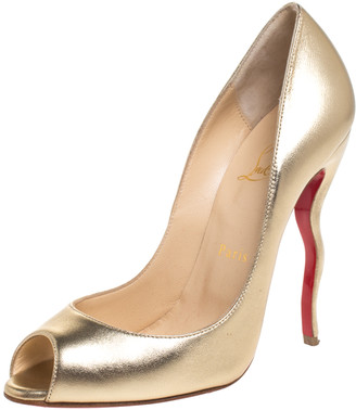 Christian Louboutin Gold Leather Jolly Peep Toe Pumps Size 38