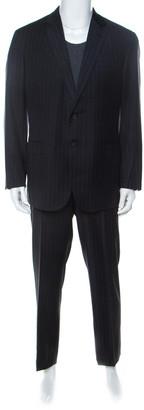 Brioni Super 150s Palatino Grey Striped Wool Suit XL