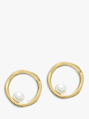 Dower & Hall Freshwater Pearl Open Circle Stud Earrings, Gold/White