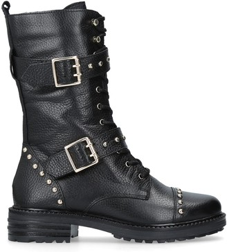 Kurt Geiger Sting Biker Boots, Black Leather
