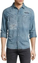 Diesel Distressed Denim Western Shirt, Blue