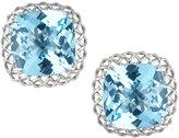 Roberto Coin Ipanema 18k White Gold Blue Topaz Button Earrings