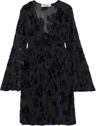 Diane von Furstenberg Adelita Ruffle-trimmed Metallic Devore-chiffon Mini Dress