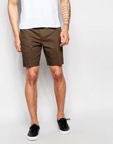 Asos Skinny Tailored Chino Shorts In Khaki Brown