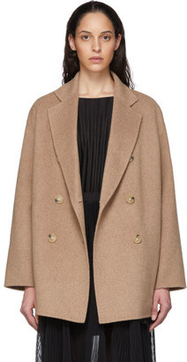 Acne Studios Tan Wool Double-Breasted Coat