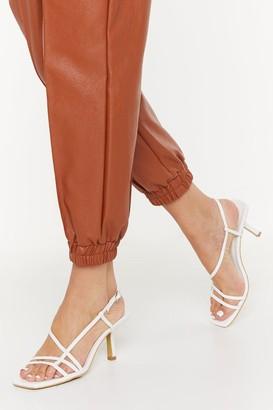 Nasty Gal Womens Time Heels Strappy Kitten Heels - White - 4