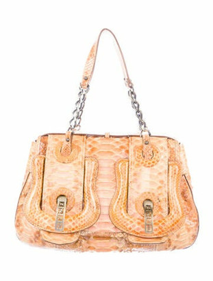Fendi Python B Handle Bag Brown
