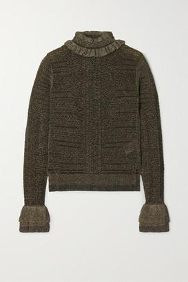 Chloé Ruffled Metallic Ribbed-knit Sweater - Black