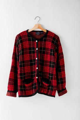 Urban Renewal Vintage Vintage Dark Red Plaid Sweater