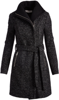 T Tahari Black Herringbone Eva Wool-Blend Trench Coat