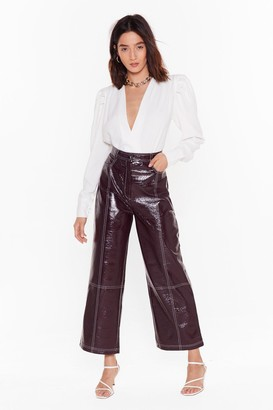 Nasty Gal Womens Have The Vinyl Say Stitch Wide-Leg Trousers - Purple - 6