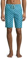 Peter Millar Peacock-Print Swim Trunks, Green