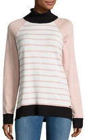 Calvin Klein Contrast-Trim Striped Turtleneck Sweater