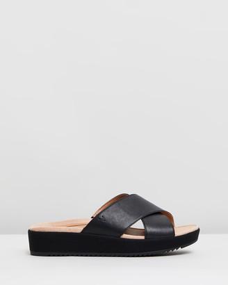 Vionic Women's Black Wedge Sandals - Hayden Platform Slides - Size One Size, 5 at The Iconic