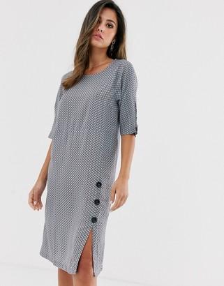 Vila tile print dress with split
