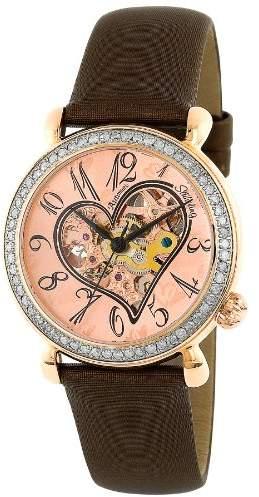 Stuhrling Original Women's 109S.1245E14 Amour Aphrodite Venus Automatic skeleton Genuine Diamond Bronze Leather Watch