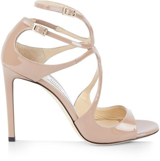 Jimmy Choo Lang Pat Leather Stiletto Sandals