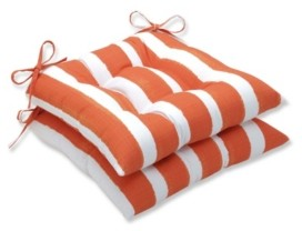 """Pillow Perfect Nico Stripe 18.5"""" x 19"""" Tufted Outdoor Chair Pad Seat Cushion 2-Pack"""