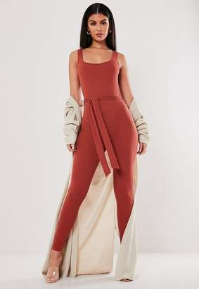 Missguided Rust Jersey Ribbed Scoop Neck Belted Unitard Romper
