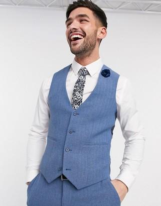 ASOS DESIGN wedding super skinny suit suit vest in cornflower blue wool blend herringbone