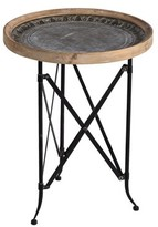 Francky Classic Vintage Wood and Metal Round Tray Table World Menagerie