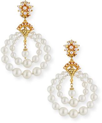 Jose & Maria Barrera Pearly Double-Hoop Clip Earrings
